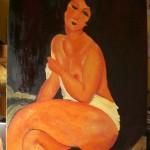 Copie Femme nue assise sur un divan de Modigliani.