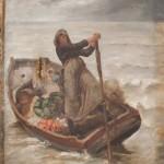 Peinture fin 19ème début du 20ème représentant une femme et ses enfants sur un barque en mer.