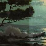 Paysage marin sur panneau.